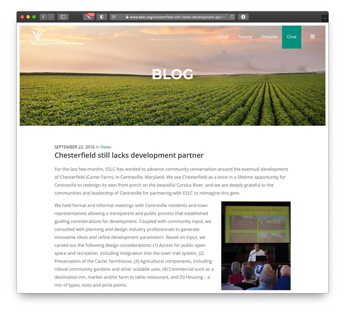 ESLC blog chesterfield lacks development partner